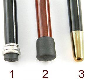 Tre differenti opzioni di puntale per il bastone da passeggio artistico