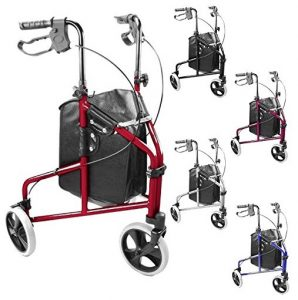 Deambulatore 3 ruote pieghevole rosso con borsa
