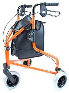 Deambulatore tre ruote con freni e borsa arancione