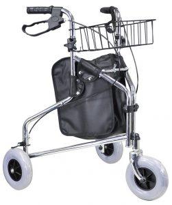 Deambulatore tre ruote cromato con cestino