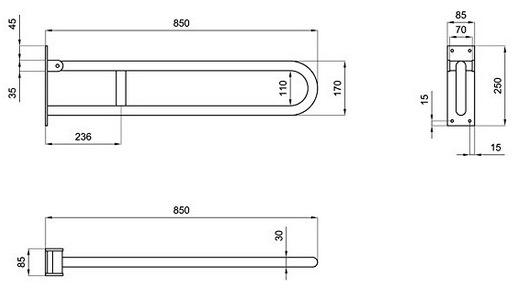 Misure barra bagno disabili 85 cm deambulatore subito - Misure per bagno disabili ...