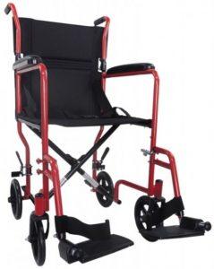 Carrozzina da transito anziani rossa Ability