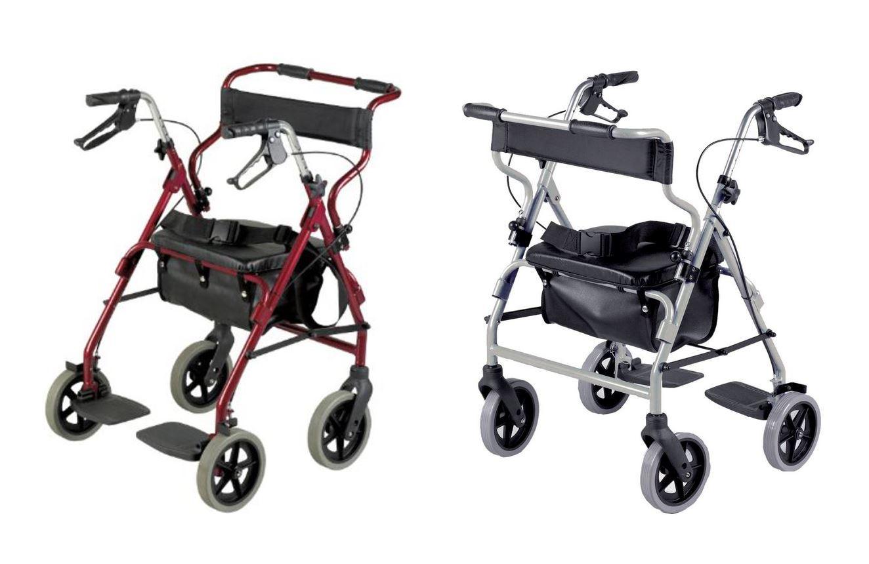 Deambulatore doppia funzione rollator e sedia rotelle for Sedia a rotelle doppia crociera
