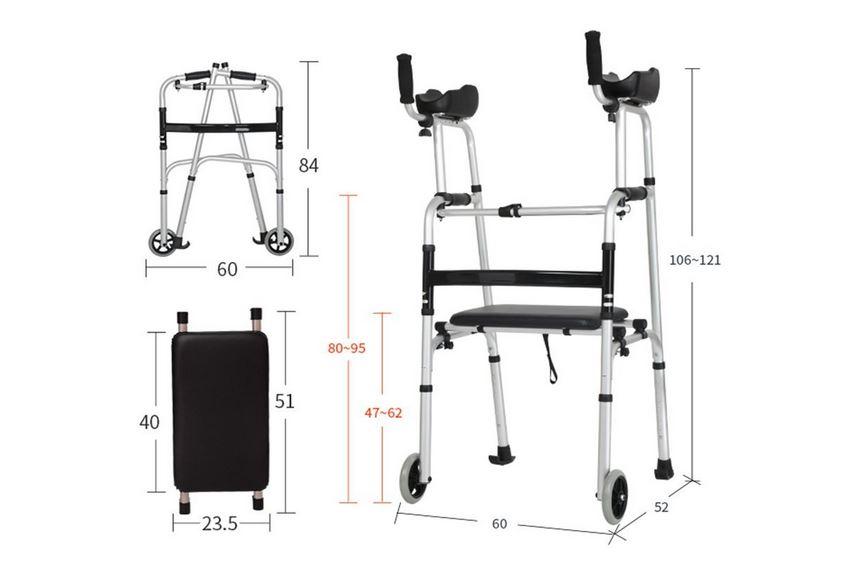 Deambulatore per appoggi brachiali seduta ruote
