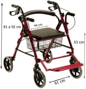 Deambulatore sedia a rotelle con poggia piedi unico modello