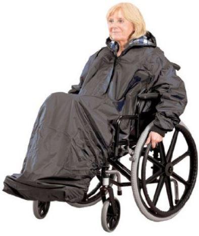 Mantella antipioggia per sedia a rotelle maniche