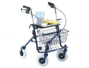 Rollator con sedile vassoio e cestino con freni