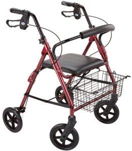 Deambulatore Rollator per anziani e disabili Medical rosso