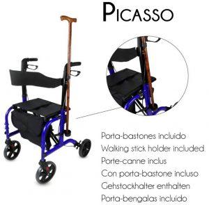 Deambulatore trasformabile in sedia a rotelle con porta bastone