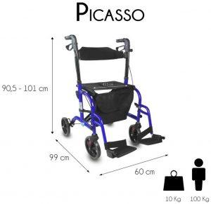 Deambulatore trasformabile in sedia a rotelle misure prezzo
