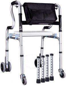 Deambulatore con ruote sedile borsa gambe fisse