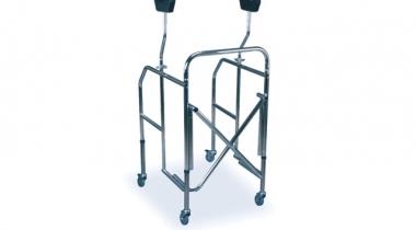 Deambulatore ascellare pieghevole con sedile imbottito