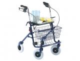 Deambulatore rollator pieghevole con sedile, vassoio e cestino